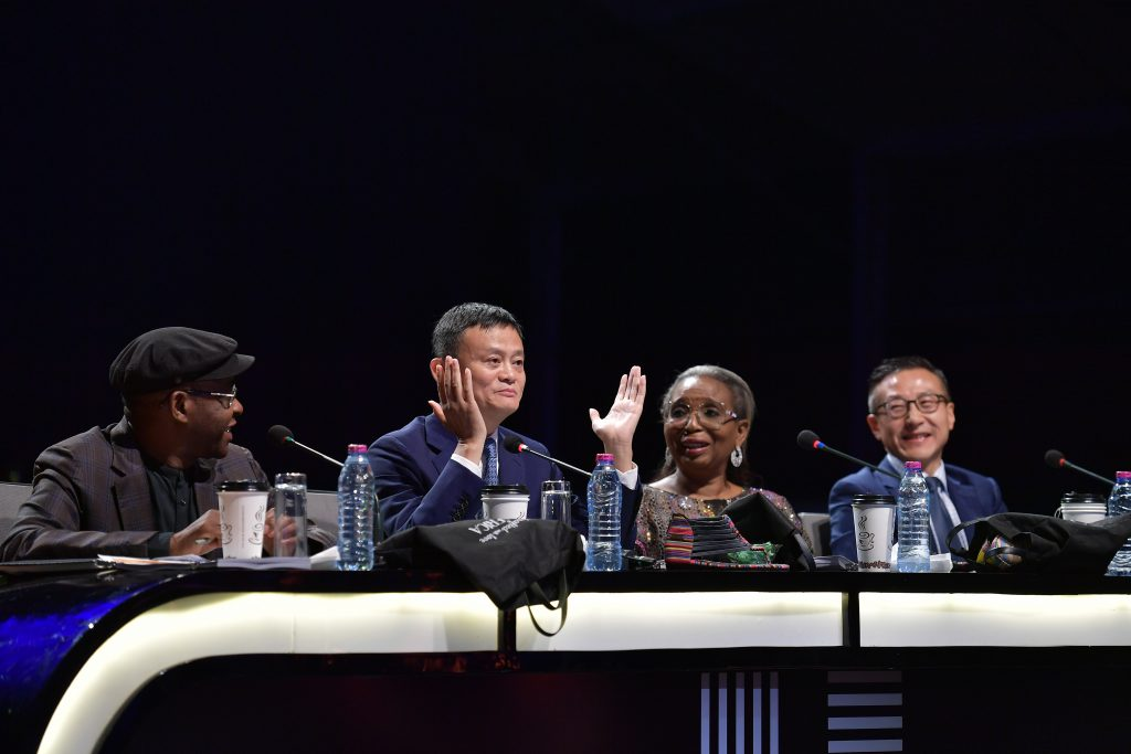 Africa Netpreneur Prize Initiative finale judges (from left to right) - Strive Masiyiwa, Jack Ma, Ibukun Awosika and Joe Tsai